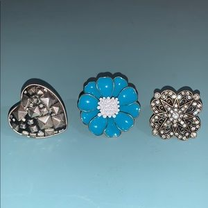 3 Rings Teal Flower, Rocket Heart, Diamond Star